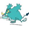 cartoon of a raging bull