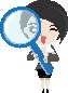 Clip Art of Lady with Black Hair Looking Through a Large Magnifier